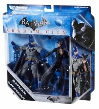 "DC Comics ARKHAM CITY BATMAN & CATWOMAN 6"" video game toy figures set NICE!"
