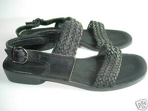 WOMENS-BLACK-LEATHER-ENZO-ANGIOLINI-OPEN-TOE-SANDALS-COMFORT-SHOES-SIZE-7-5-M