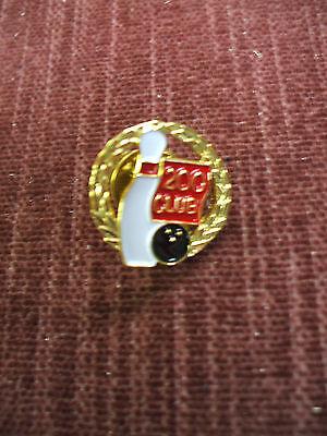 Bowling pin enameled shield 200  club blue white red stick pin back