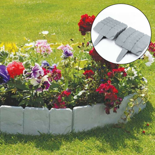 20 Pcs Home Garden Border Edging Plastic Fence Stone Lawn Yard Flower Bed Decor