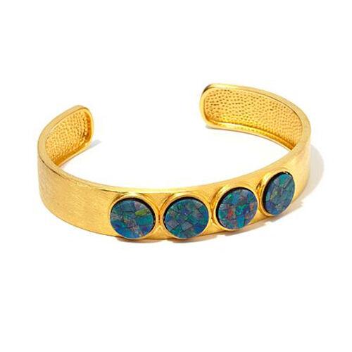 """Rarities Carol Brodie Opal Brushed Sterling Silver 6-1//2/"""" Bracelet Cuff HSN $249"""