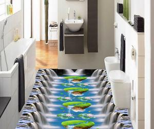 3D Cascada Isla Papel Pintado Mural Parojo Impresión de suelo 7 5D AJ Wallpaper Reino Unido Limón