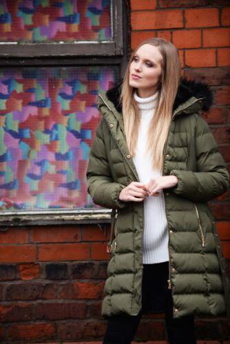 Charcoal Fashion Women/'s Khaki Long Length Winter Puffa Coat 03W17 TULIP