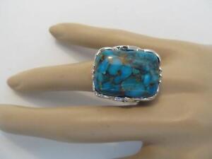 GEM-INSIDER-Turquoise-amp-Blue-Topaz-Sterling-Silver-Ring-Metal-Matrix-7-BOLD-NEW