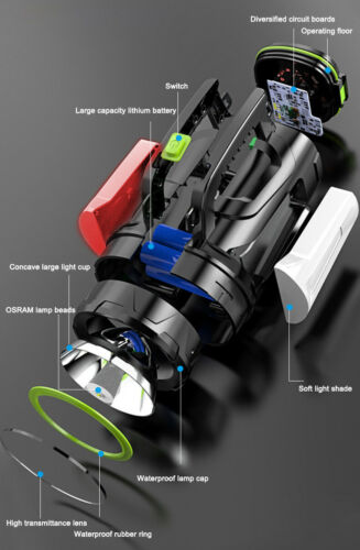 1000M Spotlight LED Flashlight Rechargeable Work Light Torch Camping Hand Lamp