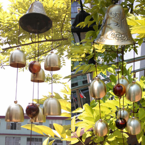 6 Copper Bells Outdoor Metal Wind Chimes Yard Garden Hanging Ornament Decor 40cm