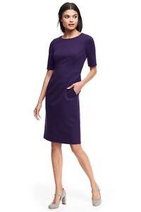 adfe94ba Lands End Women's Elbow Sleeve Ponte Sheath Dress Blackberry New | eBay