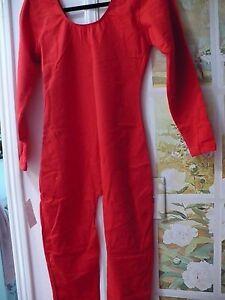 NEW-RED-bright-sz-XL-Cotton-Dance-Catsuit-LONG-SLEEVE-UNITARD-leotard-w-legs
