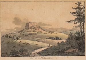 Blick auf Berg Lilienstein, Sächsische Schweiz, Anfang 19. Jh., Lithographie