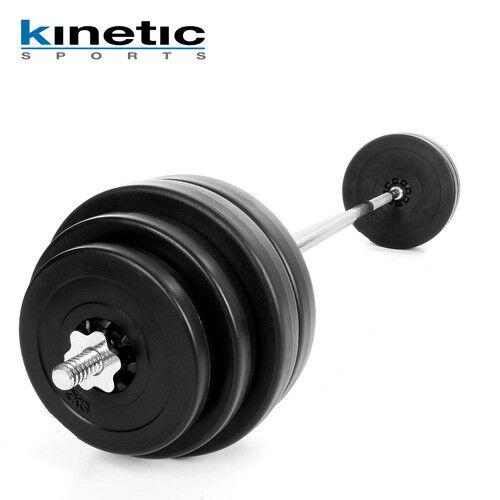Kinetic Langhantel 60kg Set Hanteln Hantel Scheiben Langhantelstange Hanteln Set Gewichte 832ebc