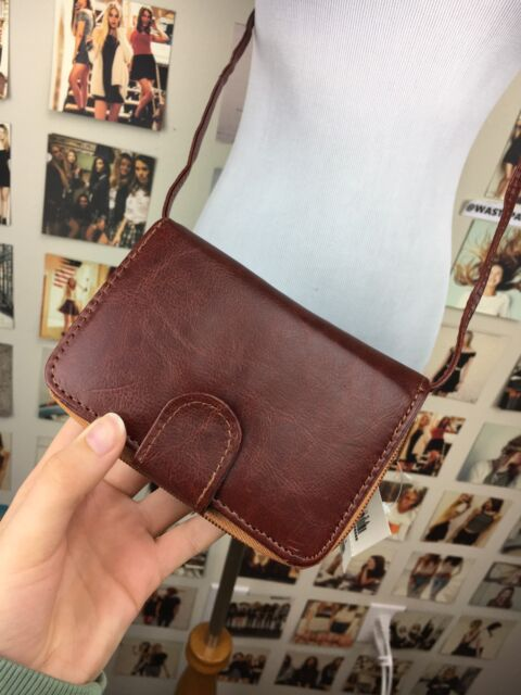New Brandy Melville Brown Faux Leather Wallet Clutch Purse Detachable Strap NWT