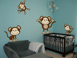 Image Is Loading 4 Cute Monkeys Wall Decals Sticker Nursery Decor