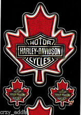 FOUR (4) HARLEY DAVIDSON CANADIAN MAPLE LEAF BAR & SHIELD SHEET OF 4 DECALS