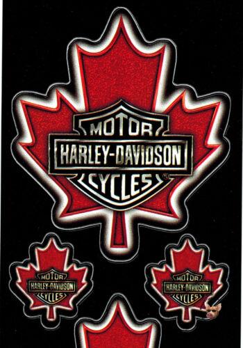 4 HARLEY DAVIDSON CANADIAN MAPLE LEAF BAR /& SHIELD SHEET OF 4 DECALS FOUR