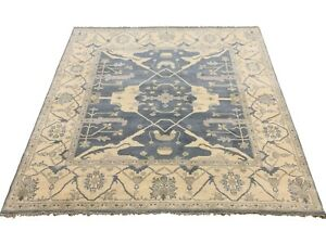 8X8-Square-Oushak-Area-Rug-Blue-Gray-Hand-Knotted-Wool-Oriental-Carpet