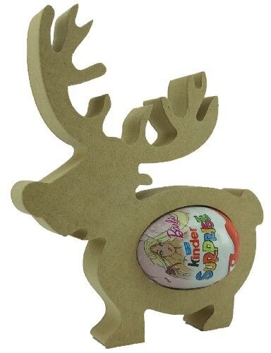 Reindeer PACK OF 20 18mm MDF Kinder Egg Holder Freestanding Christmas NEW Shape