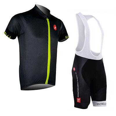 Mens Brief Cycling Outfits Jersey Bib Shorts Kits Short Sleeve Shirt Pants Suits