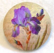 """Purple Iris Flower  Fabric Covered Button 1 & 1/2"""" Hand Printed on Cotton"""
