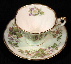 Royal Dover Christmas Holly Gold Trim Cup and Saucer England