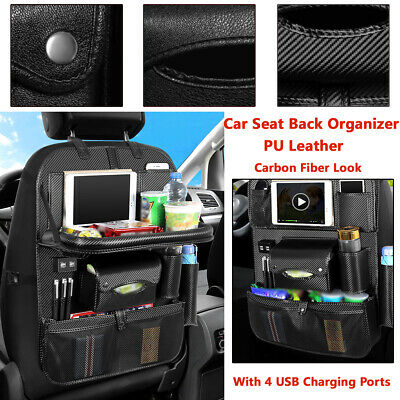 Car Seat Back Storage Bag With 4 USB Charging Ports Polyurethane Leather Pocket~