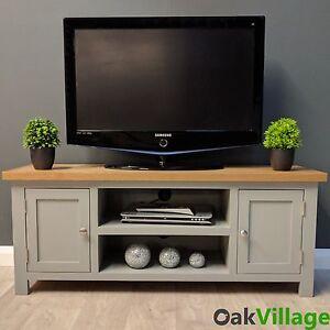Image Is Loading Grey Painted Large Plasma Oak Tv Unit Solid