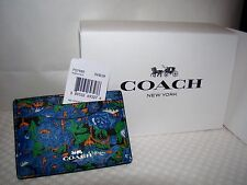 "COACH ""Rose Meadow"" Blue Floral Flat Card Case F57989 Mini Wallet NWT $65+"