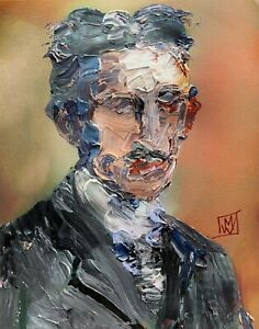 Abstract-Portrait-Inventor-Nikola-Tesla-Painting-Knife-Fine-Wall-Art-Print-11x14