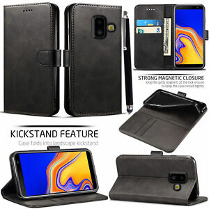 size 40 60372 6c393 Details about samsung galaxy J6 Plus 2018 PU Leather new book case screen  cover black