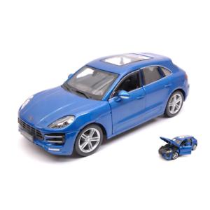 PORSCHE MACAN 2013 BLUE 1:24 Burago Auto Stradali Die Cast Modellino