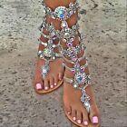 2017 Womens RHINESTONE Sandals Strap Flip Flop Strap Flat Zip buckle Beach Shoes