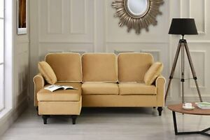Pleasant Details About Traditional Small Space Velvet Sectional Sofa Couch Reversible Chaise Champagne Short Links Chair Design For Home Short Linksinfo