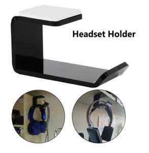 Acrylic-Headphone-Stand-Hanger-Hook-Tape-Under-Desk-Dual-Headset-Mount-Holder-L