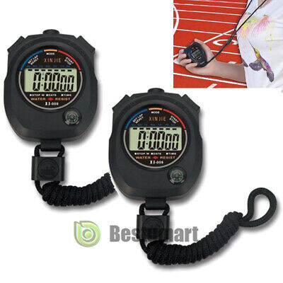 2xElectronic LCD Timer Digital Sport Stopwatch Time Alarm Counter Chronograph US