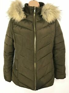 WOMENS-MISS-SELFRIDGE-GREEN-ZIP-UP-PADDED-JACKET-COAT-WITH-FUR-HOOD-SIZE-UK-8