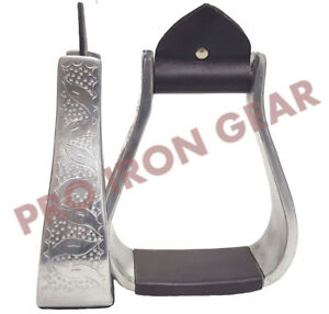 ALUMINUM-SILVER-WESTERN-HORSE-SHOW-SADDLE-STIRRUPS-WITH-BROWN-LEATHER