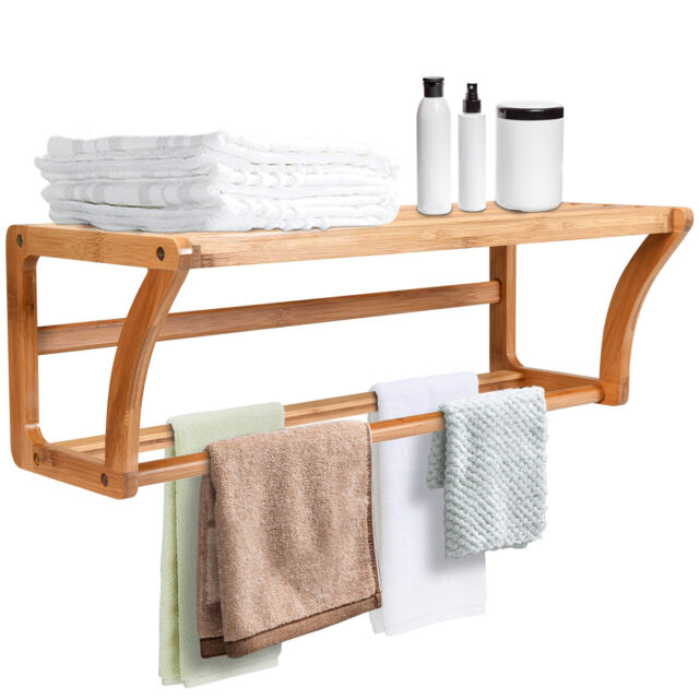 Wall Mounted Rustic Wood Compartment Storage Shelf Towel Bar
