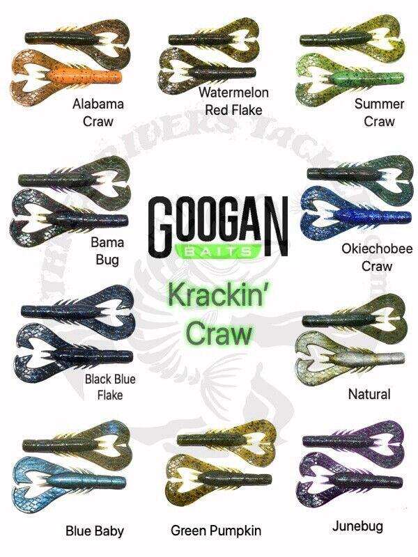 """Alabama Craw 7 Per Pack GKC-ALA Googan Baits 4/"""" Krackin/' Craw"""