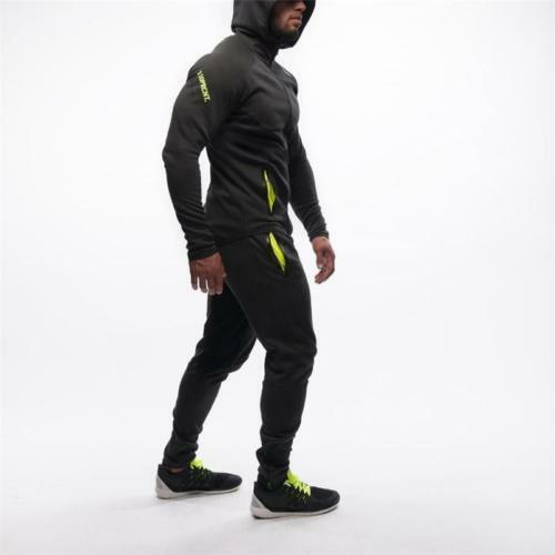 Details about  /Men/'s Sports Muscle Tight Fitness Set Workout Tracksuit Pants Hoodie Bottoms