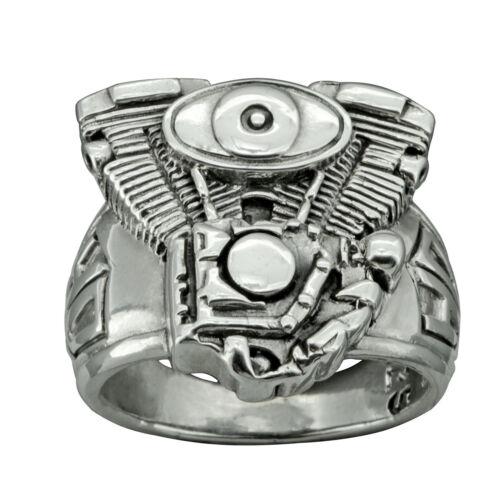 BELDIAMO V 2 HARLEY DAVIDSON MOTOR ENGINE RING 925 SOLID STERLING SILVER