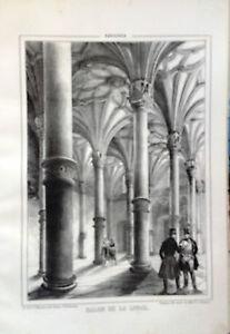 ARAGoN-ZARAGOZA-SALoN-DE-LA-LONJA-Litografia-original-de-Parcerisa-1839-1865