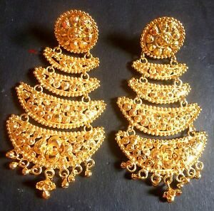 22K-Gold-Plated-4-Steps-Indian-Wedding-Jhumka-Gorgeous-Party-Earrings