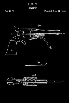 "unframed REVOLVER PISTOL GUN POSTER INVENTION 1898 PATENT ART 18X24/"""