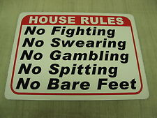 HOUSE RULES Metal Sign for Golf Course Driving Range Bar Pool Hall Man Cave Gym