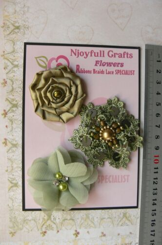 55 /& 60mm HMI-2 NJC HANDMADE 3 Flower Mix SAGE GREEN Organza Lace Satin 50