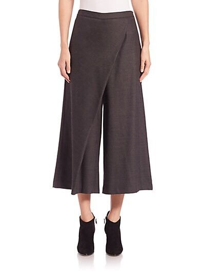 LARGE NWT Eileen Fisher Charcoal Heathered Stretch Flannel Twill Sarong Pants
