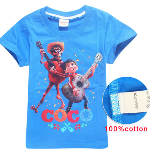 Cute Kids Boy Girl Summer  Film Coco Short Sleeve 100/% Cotton T-shirt Tops New