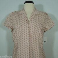 Liz & Co Women's Printed Button Front Blouse Size L (new)