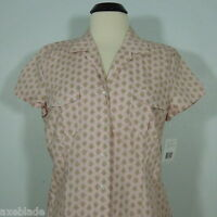 Liz & Co Women's Printed Button Front Blouse Size L (new)