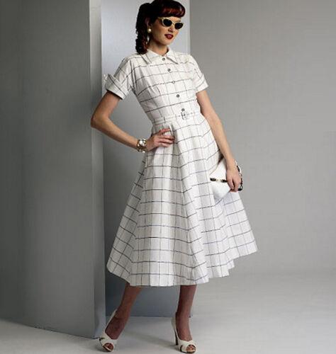 Vestido Retro 1950s 50s V9000 años cincuenta patrón de Costura Vintage Vogue Talla 8-24