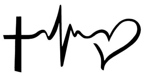 "FAITH HOPE LOVE Vinyl Decal Sticker Car Window Wall Bumper Symbol Heart Cross 6/"""